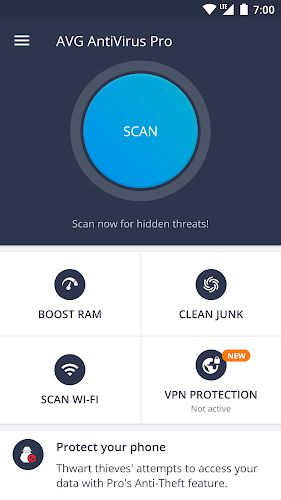 AVG AntiVirus 2019 for Android Security pro interface