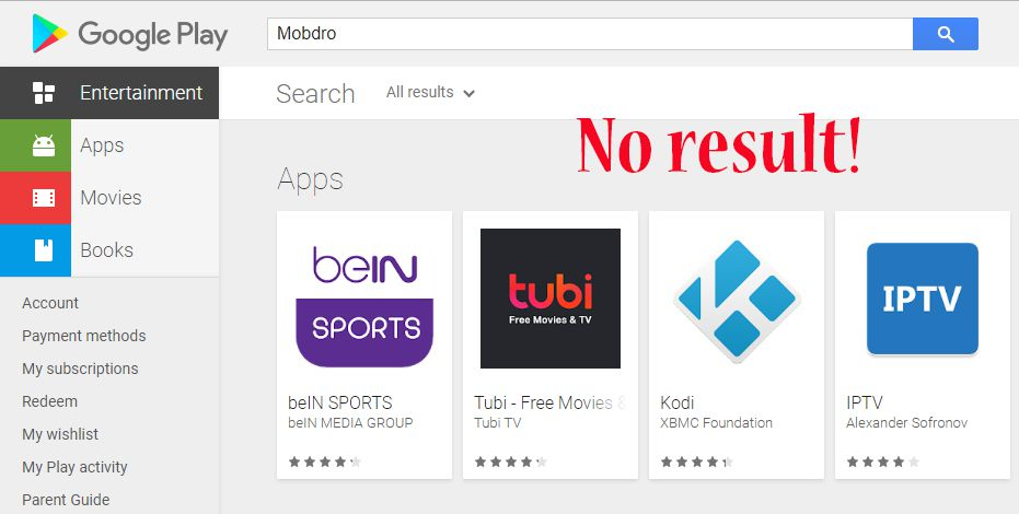 Mobdro not available on Play Store