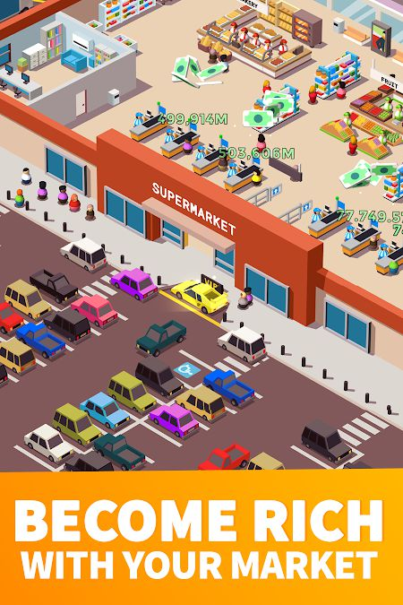 Idle Supermarket Tycoon mod features