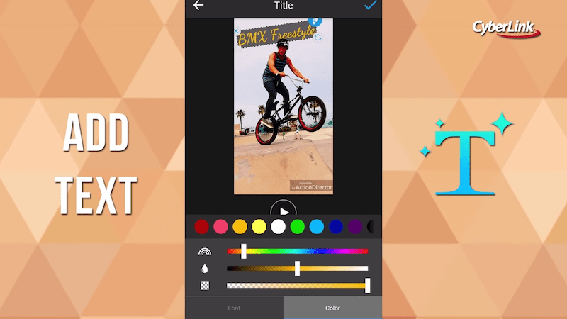 ActionDirector add text and music
