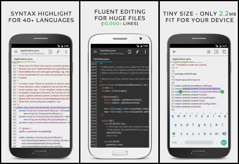 QuickEdit Text Editor key features