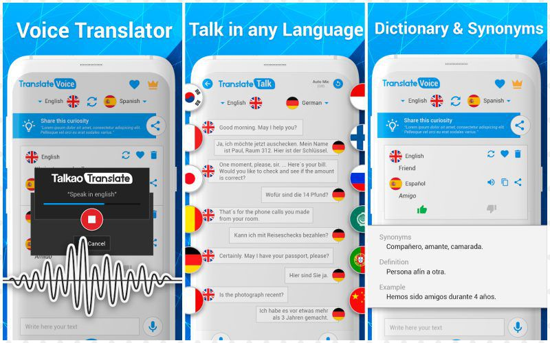Talkao Translate PRO features