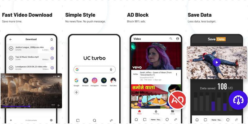 UC Browser turbo MOD key features